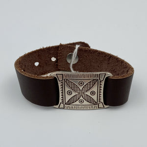 Brown Leather Connector Bracelet - Sterling Silver