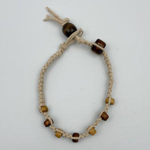 Square Knot Hemp Bracelet with Brown & Beige Beads