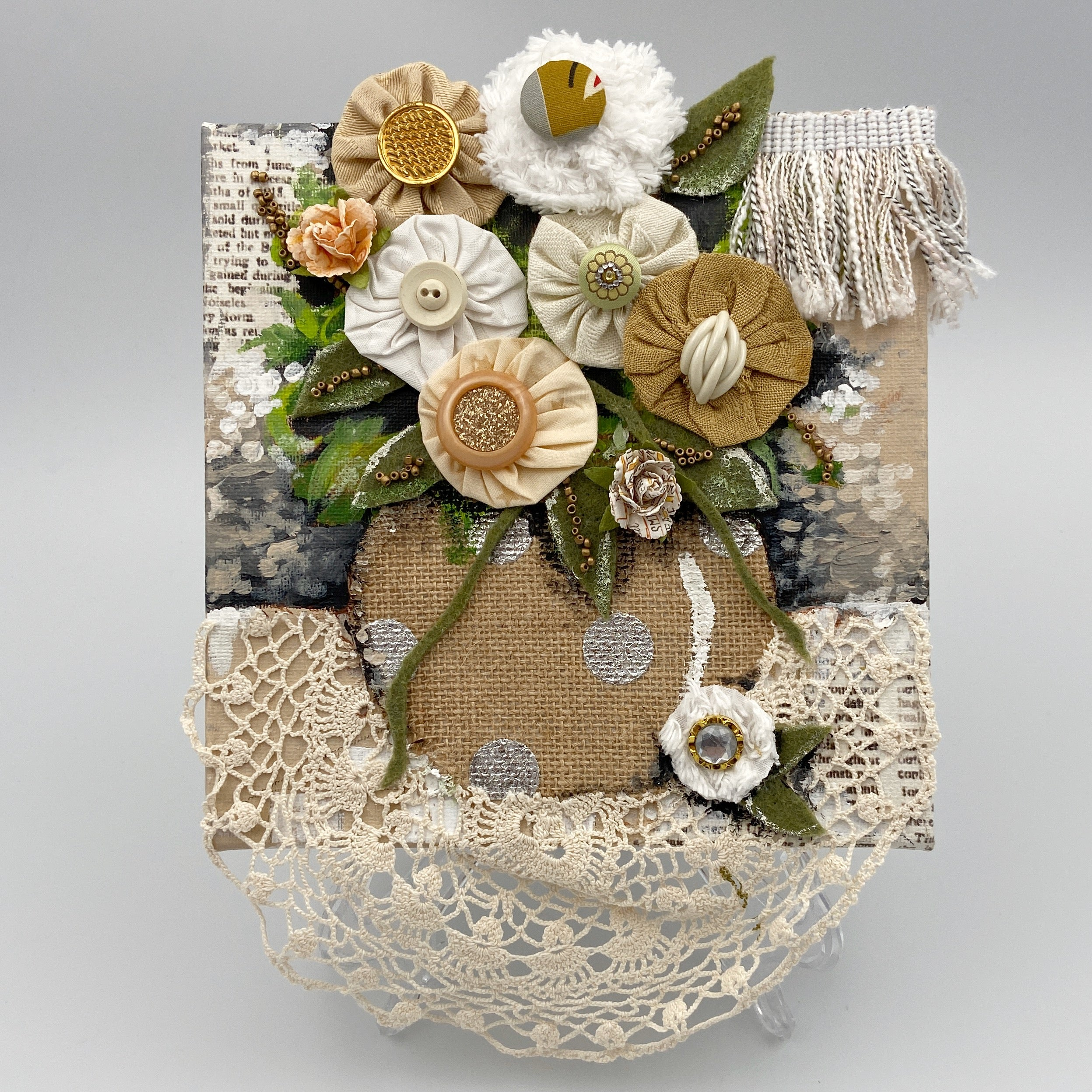 Whimsical Beige Florals and Doily Collage