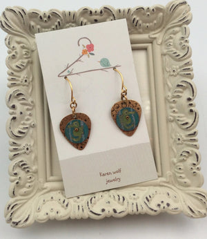 Hand Painted Art on Brass Seahorse Earrings