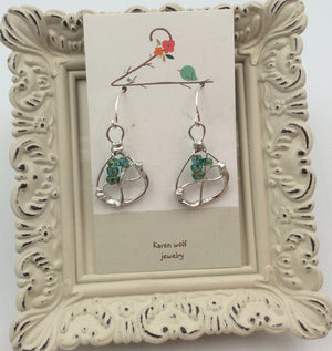 Free-form Hand Silver Soldered & Crystal Earrings