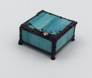 LC S Blue Square Glass Box