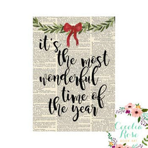 Book Art - It's The Most Wonderful Time Of The Year - 5x7 Unframed Print - Cecelia Rose Book Art