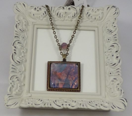 Art Floral Pendant on Brass Ball Chain Necklace
