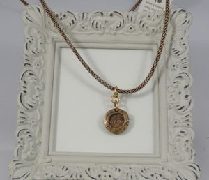 Bronze Pendant and Mesh covered Leather Necklace