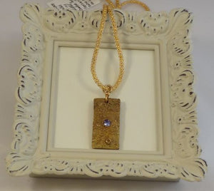 Bronze and Cubic Zirconia Pendant on Brass Mesh Chain Necklace