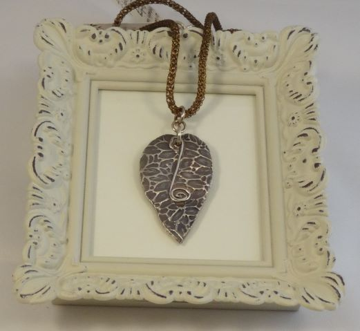 Hand Sculpted Fine Silver Leaf Pendant Necklace