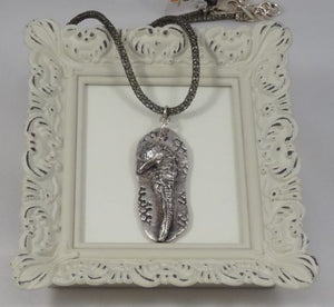 Hand Sculpted Fine Silver Seahorse with Cubic Zirconia Pendant Necklace