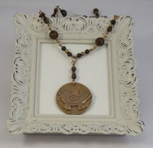 Bronze Bird Medallion Pendant on Gemstone beaded Brass Chain Necklace