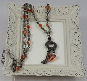 Key to My Heart Red Crystal and Gemstone Beaded Chain Necklace