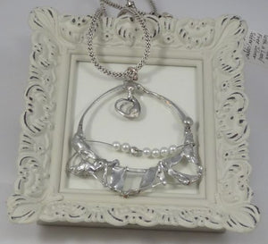 Silver Solder and Pearls Pendant on Silver Mesh Covered Chain Necklace