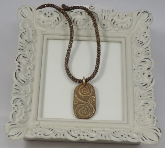 Hand Sculpted Bronze Pendant  Necklace
