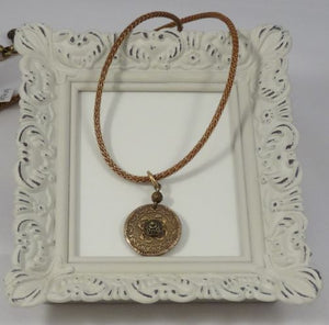 Hand Sculpted Bronze Medallion Pendant with Brass Mesh Covered Leather Cord Necklace