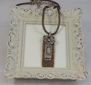 Hand Sculpted Fine Silver, Resin and Brass Pendant Necklace