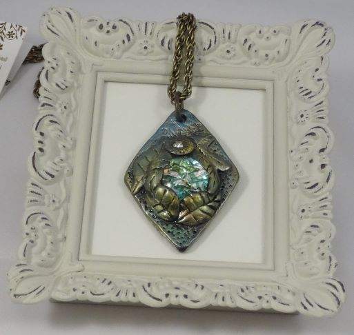 Polymer Clay and Glass Diamond Shaped Pendant Necklace