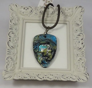 Polymer Clay and Glass Shield Shaped Pendant Necklace