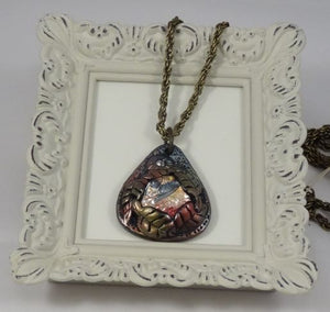 Polymer Clay and Glass Teardrop Shaped Pendant Necklace