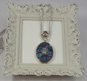 Polymer Clay, Glitter and Resin Pendant Necklace