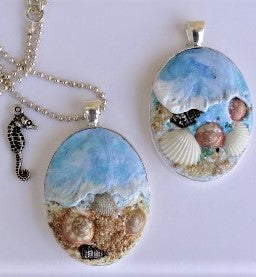 Polymer Clay Ocean Pendant Necklace