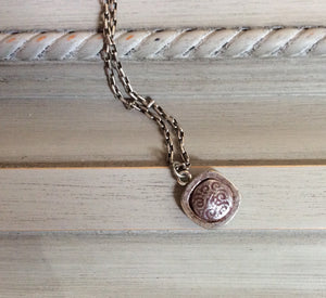 Grey Clay Button Necklace on Chain