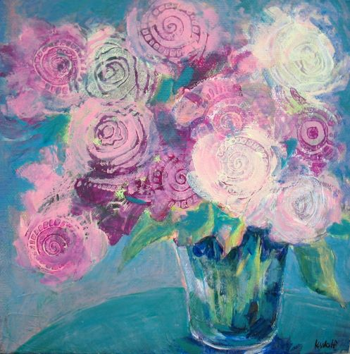 Pink Flowers by Karen Wolf (Original Art)