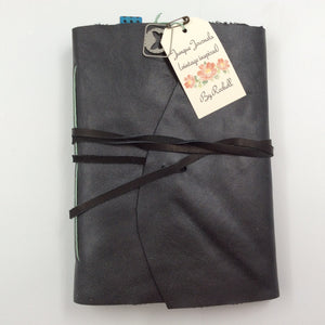 Black Leather Journal with Wrap Closure