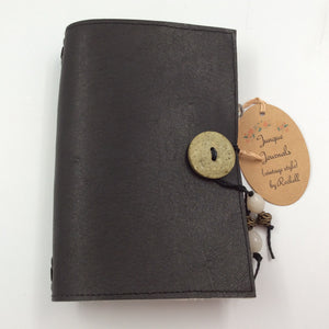 Black Leather Journal with Green Button Closure