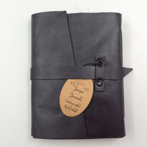 Black Leather Journal with Strap Closure