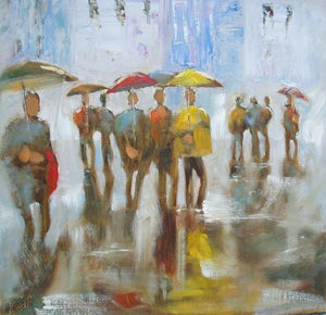 Rainy Day in Paris by Karen Wolf (Matted Print)