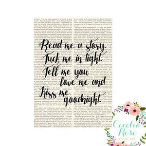 Book Art - Read Me A Story, Tuck Me In Tight - 5x7 Unframed Print - Cecelia Rose Book Art