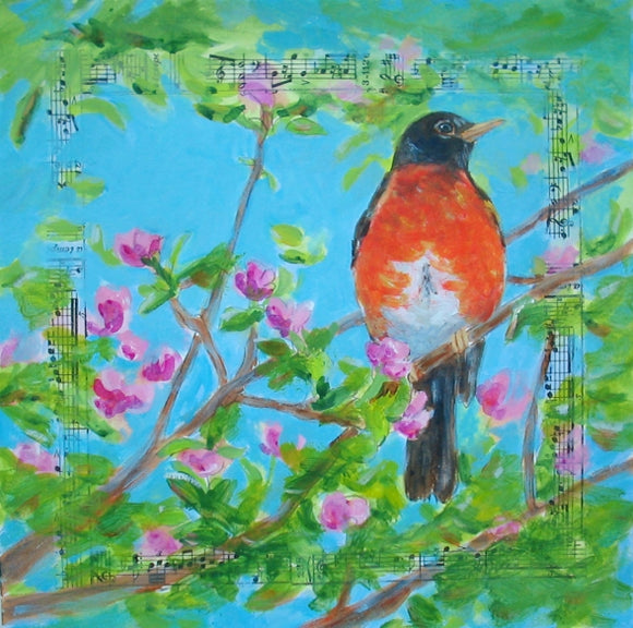 Sing for Spring by Karen Wolf (Original Framed Art)
