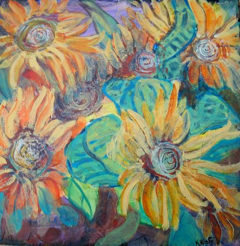Sunflower Swirls by Karen Wolf (Original Framed Art)
