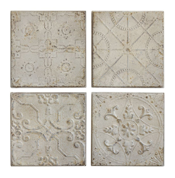 Embossed Tin Tile Wall Decor - Antique White