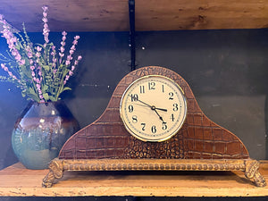 Crocodile Leather Mantel Clock