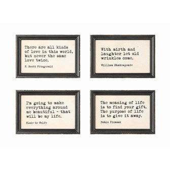 Wood Framed Wall Decor with Saying - 4 Styles DA4347a
