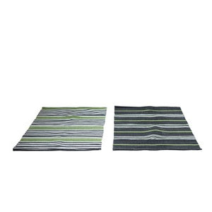 2' x 4' Cotton Striped Dhurrie Rug, Green & Black, 2 Styles DA9920A