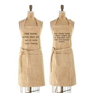 "Cotton Canvas Apron w/ Pockets & Saying, Stone Wash, 2 Styles 32""L x 28""W DF1695A"