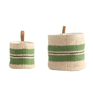 Jute Baskets w/ Leather Loop, Green Stripes, Set of 2 DF1774