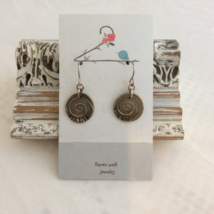 Hand Sculpted Fine Silver Charm Earrings