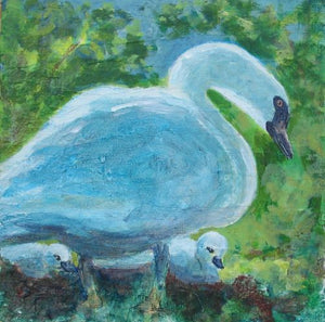 Swans by Karen Wolf (Original Framed Art)