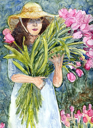 Tulip Girl by Karen Wolf (Matted Original)