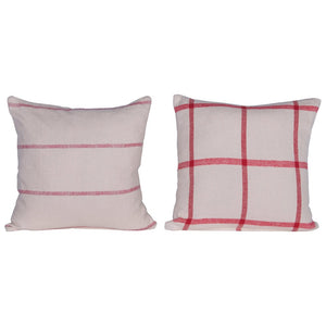 Pillow w/ Pattern, Red & Cream Color, 2 Styles, Brushed Cotton XM6660A