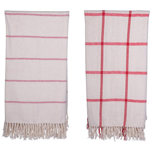 Brushed Cotton Throw w/ Pattern & Fringe, Red & Cream Color, 2 Styles XM6665A
