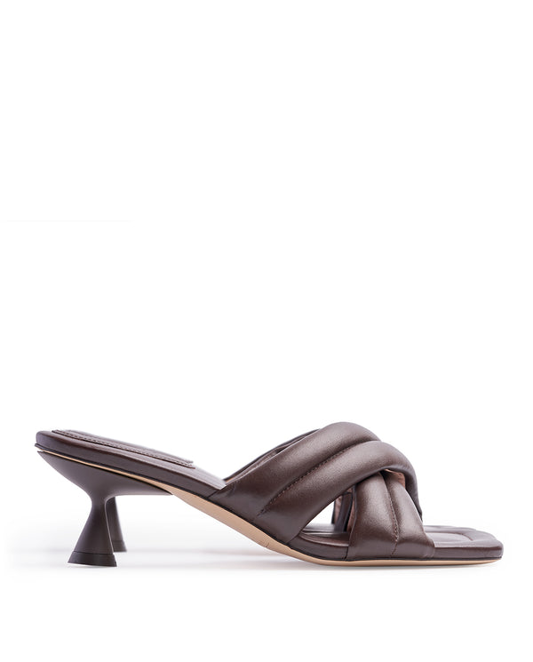 VERA BROWN HEELED SANDALS