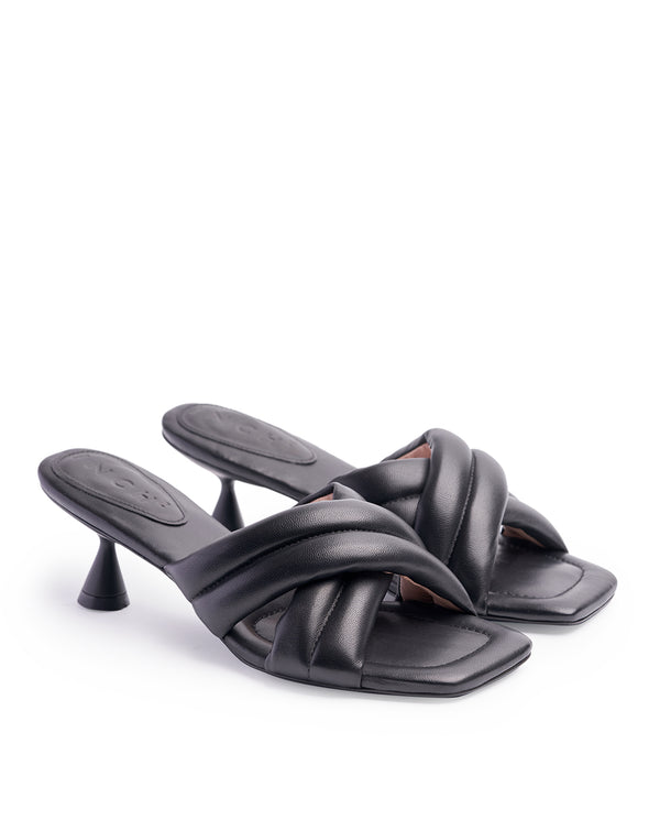 VERA BLACK HEELED SANDALS