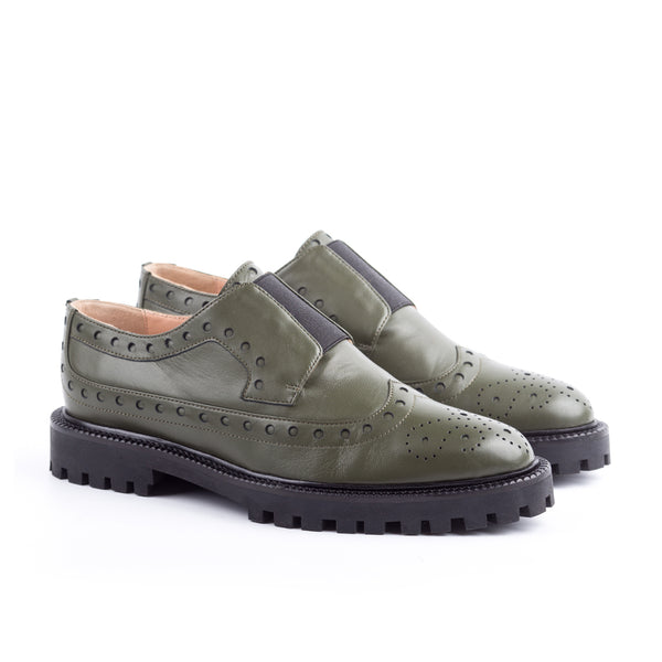 Olive Laceless Leather Brogues - I N C H 2
