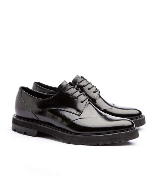 Black Derby Solid Brogues - I N C H 2