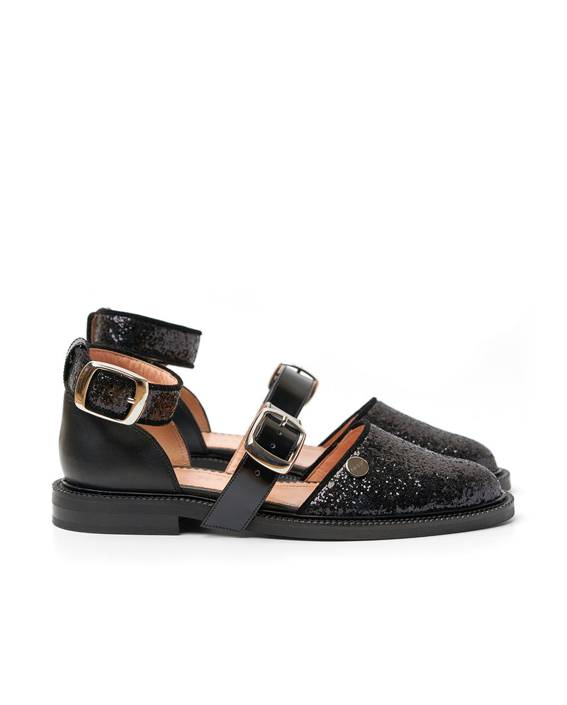 Black Shiny Closed Toe Sandals