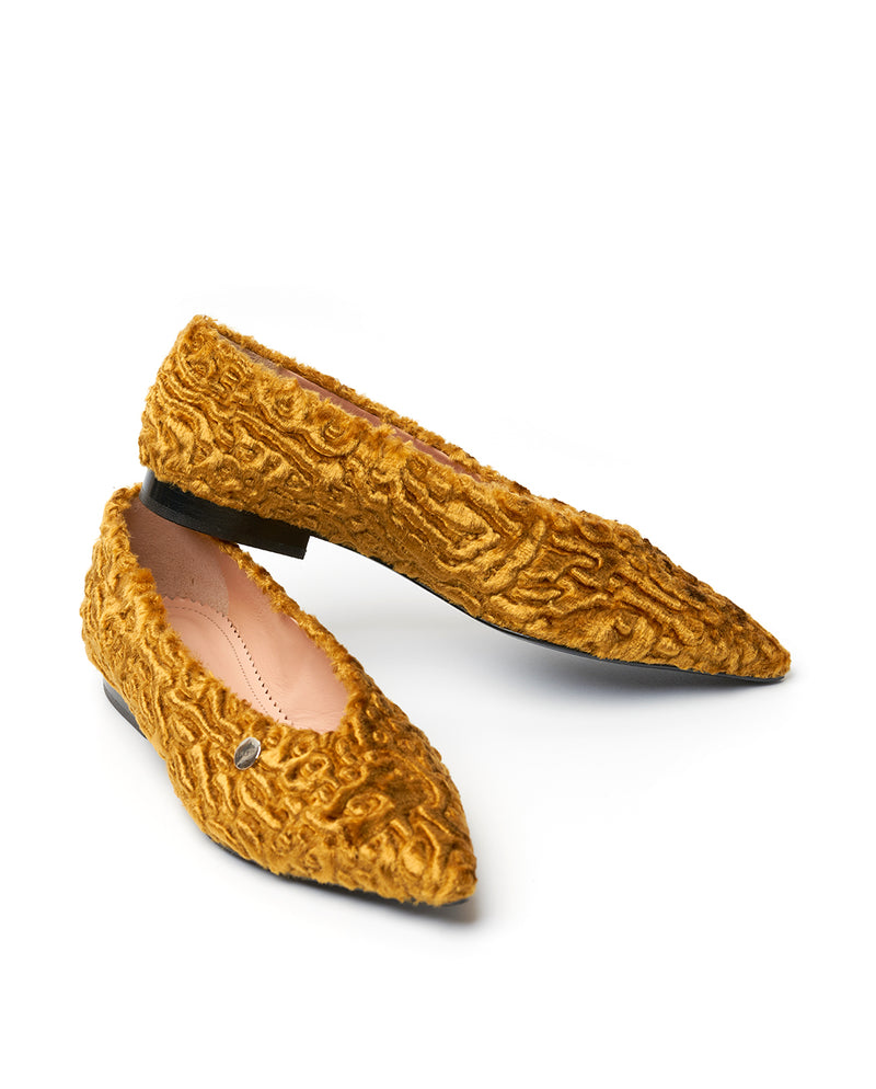 GOLDEN CARACUL FUR FLATS