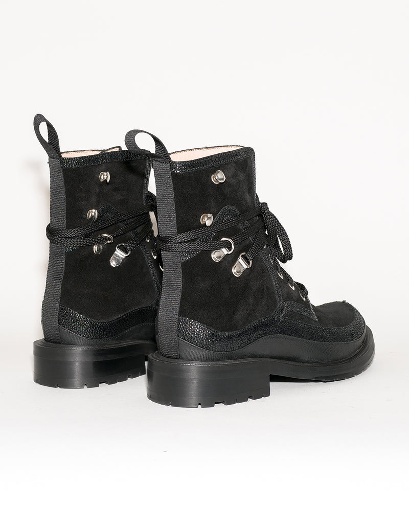 BLACK VELOUR ANKLE BOOTS - I N C H 2